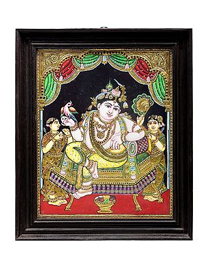 """19"""" x 23"""" Relaxing Krishna Tanjore Painting 