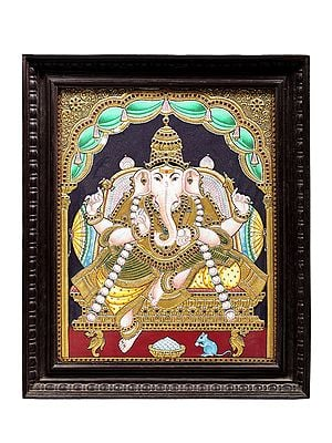 """19"""" x 23"""" Bhagwan Ganesha Tanjore Painting 