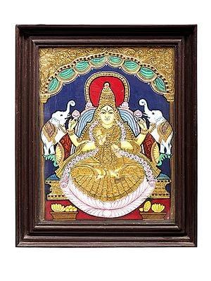 "17"" x 21"" Padmasana Gajalakshmi Tanjore Painting | Traditional Colors With 24K Gold | Teakwood Frame | Gold & Wood | Handmade | Made In India"
