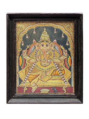 """14"""" x 17"""" Bhagwan Ganesha Tanjore Painting 