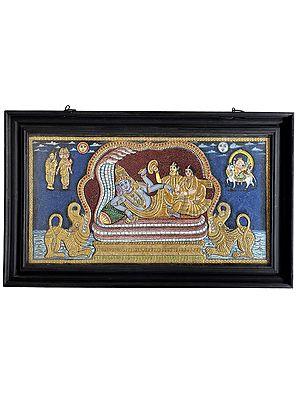 "28"" x 16"" Shesha Shayi Vishnu Tanjore Painting | Traditional Colors With 24K Gold | Teakwood Frame | Gold & Wood | Handmade | Made In India"
