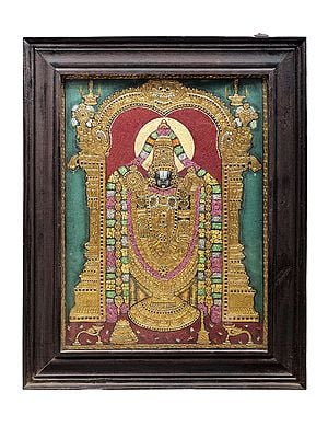 """22"""" x 28"""" Lord Venkateshvara as Balaji Tanjore Painting 