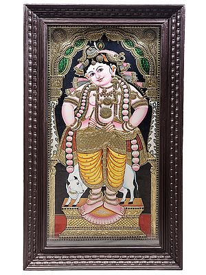 """30"""" x 54"""" Standing Lord Krishna Tanjore Painting 