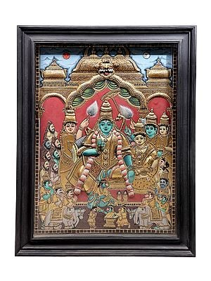 """42"""" x 54"""" Rama Darbar Tanjore Painting 