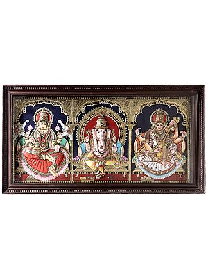 """48"""" x 24"""" Ganesha with Lakshmi & Saraswati Tanjore Painting 