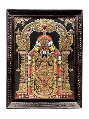 """42"""" x 54"""" Lord Venkateshvara as Balaji Tanjore Painting 