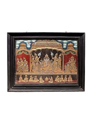 """56"""" x 44"""" Lord Ganesha with Riddhi and Siddhi Tanjore Painting 