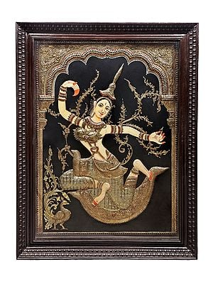 """42"""" x 54"""" Goddess Rati Tanjore Painting 