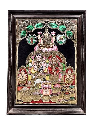"""42"""" x 54"""" Kubera and Lakshmi Tanjore Painting 