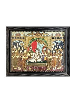 """53"""" x 41"""" Lord Krishna Tanjore Painting 