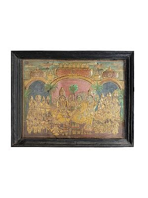 """52"""" x 40"""" Rama Darbar Tanjore Painting 