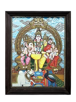 """40"""" x 51"""" Lord Shiva Family Tanjore Painting 