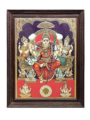 """43"""" x 55"""" Goddess Rajarajeshwari Tanjore Painting 
