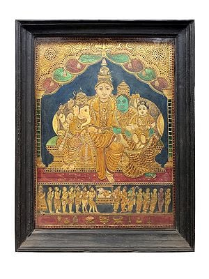 """42"""" x 53"""" Lord Shiva Family Tanjore Painting 