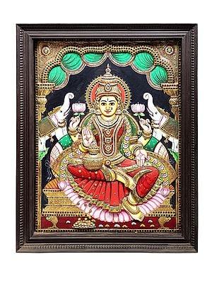 "41"" x 52"" Padmasana Gajalakshmi Tanjore Painting | Traditional Colors With 24K Gold | Teakwood Frame | Gold & Wood | Handmade | Made In India"