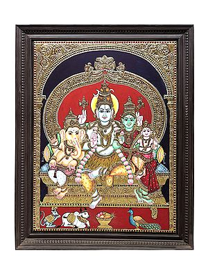 """42"""" x 54"""" Lord Shiva Family Tanjore Painting 