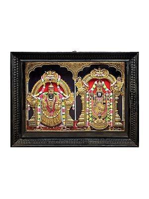 "55"" x 43"" Lord Venkateswara as Balaji At Tirupati With Goddess Lakshmi Tanjore Painting | Traditional Colors With 24K Gold | Teakwood Frame | Gold & Wood | Handmade | Made In India"