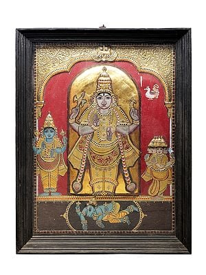 """41"""" x 52"""" Lord Shiva as Pashupatinath With Brahma and Vishnu Tanjore Painting 