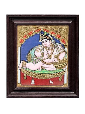 """13"""" x 15"""" Butter Krishna Tanjore Painting   Traditional Colors With 24K Gold   Teakwood Frame   Gold & Wood   Handmade   Made In India"""