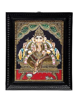 """15"""" x 18"""" Lord Ganesha Tanjore Painting   Traditional Colors With 24K Gold   Teakwood Frame   Gold & Wood   Handmade   Made In India"""