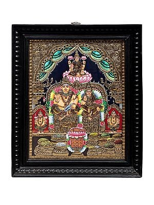 """15"""" x 18"""" Kubera and Lakshmi Tanjore Painting   Traditional Colors With 24K Gold   Teakwood Frame   Gold & Wood   Handmade   Made In India"""