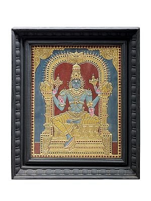 """15"""" x 18"""" Lord Vishnu Tanjore Painting   Traditional Colors With 24K Gold   Teakwood Frame   Gold & Wood   Handmade   Made In India"""
