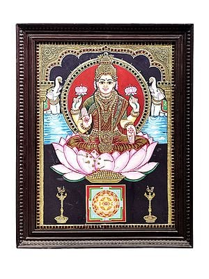 """15"""" x 18"""" Goddess Lakshmi Seated on Lotus Tanjore Painting   Traditional Colors With 24K Gold   Teakwood Frame   Gold & Wood   Handmade   Made In India"""