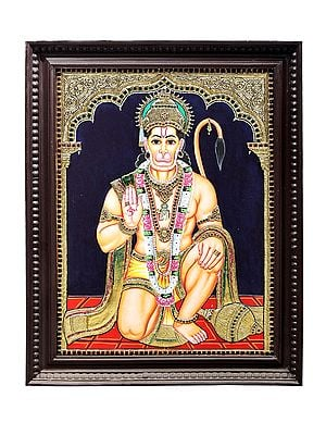 """21"""" x 27"""" Lord Hanuman Ji Tanjore Painting   Traditional Colors With 24K Gold   Teakwood Frame   Gold & Wood   Handmade   Made In India"""