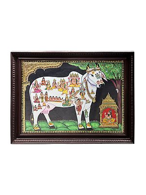 """27"""" x 21"""" Nandini The Holy Cow Tanjore Painting   Traditional Colors With 24K Gold   Teakwood Frame   Gold & Wood   Handmade   Made In India"""