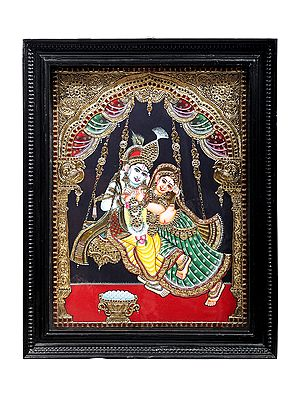 """21"""" x 27"""" Radha Swings with Krishna Tanjore Painting   Traditional Colors With 24K Gold   Teakwood Frame   Gold & Wood   Handmade   Made In India"""
