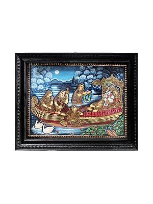"""28"""" x 22"""" Shri Krishna and Radha With Gopis on the Ferry Boat of Love Tanjore Painting   Traditional Colors With 24K Gold   Teakwood Frame   Gold & Wood   Handmade   Made In India"""
