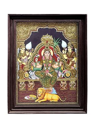 """21"""" x 27"""" Goddess Rajarajeshwari Tanjore Painting   Traditional Colors With 24K Gold   Teakwood Frame   Gold & Wood   Handmade   Made In India"""