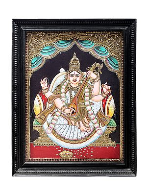 """21"""" x 27"""" Goddess Saraswati Tanjore Painting   Traditional Colors With 24K Gold   Teakwood Frame   Gold & Wood   Handmade   Made In India"""