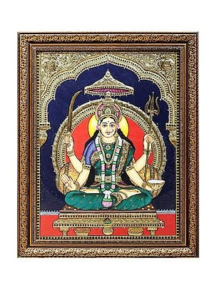 Goddess Santoshi Tanjore Painting | Traditional Colors With 24K Gold | Teakwood Frame | Gold & Wood | Handmade | Made In India