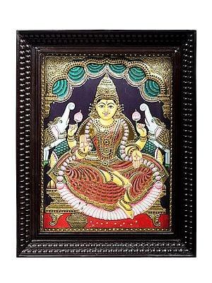"22"" x 28"" Padmasana Gajalakshmi Tanjore Painting   Traditional Colors With 24K Gold   Teakwood Frame   Gold & Wood   Handmade   Made In India"