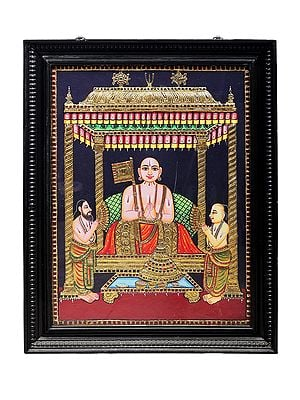 Shri Ramanuja Tanjore Painting | Traditional Colors With 24K Gold | Teakwood Frame | Gold & Wood | Handmade | Made In India