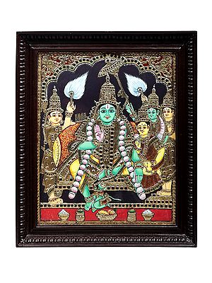 """19"""" x 23"""" Rama Darbar Tanjore Painting   Traditional Colors With 24K Gold   Teakwood Frame   Gold & Wood   Handmade   Made In India"""