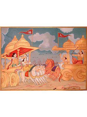 Arjuna Battles Karana at Kurukshetra