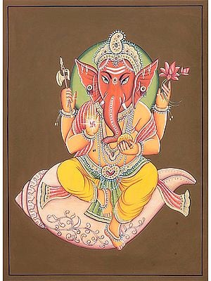 Lord Ganesha Seated on a Conch