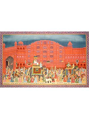 Procession at Hawa Mahal of Jaipur