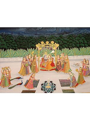Radha Swings with Krishna on Terrace in Evening with the Companies of Gopis