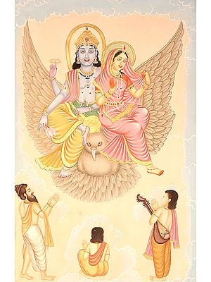 Saints and Narada Paying Obeisance to Lakshmi Vishnu on Garuda