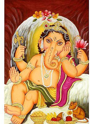 Shiva Linga Protects Baby Ganesha