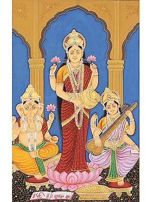 Shri Ganesha, Lakshmi and Saraswati