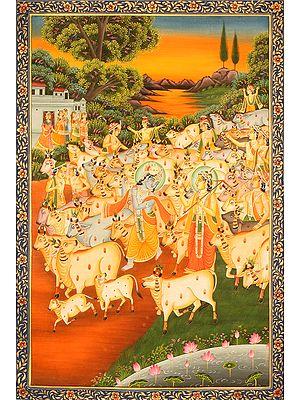 Krishna-Balarama and the Cowherds of Vrindavana