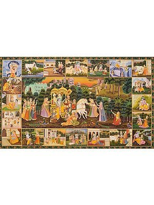 Krishna's Farewell in Vrindavana as He is Departing to Mathura (Border Showing Krishna Lilas)