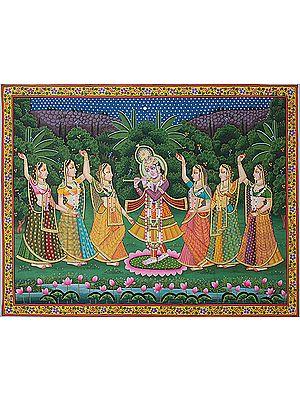 Gopis Celebrate the Presence of Krishna in Vrindavan