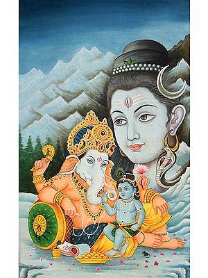 Baby Krishna with Ganesha and Shiva