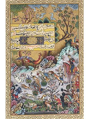 Hushang Defeats the Black Demon (From the Shahanamah painted during the reign of Shah Tahmasp)