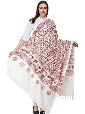 Hare Ram Hare Krishna Prayer Shawl from Banaras